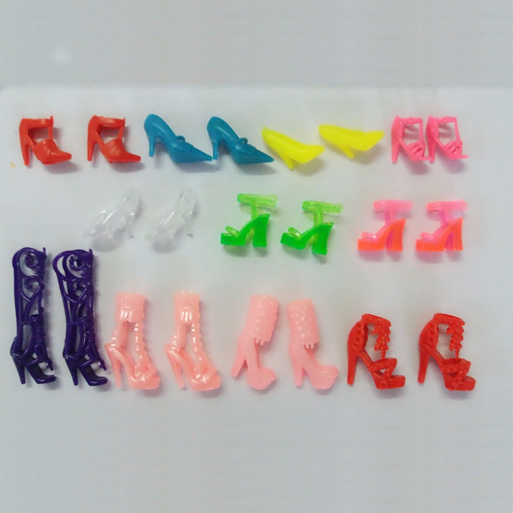 Hot Random 20pcs/10Pairs Shoes Boots For Decor Barbie Doll Toy Girls Doll Accessories Play House Party Birthday/Xmas Gift