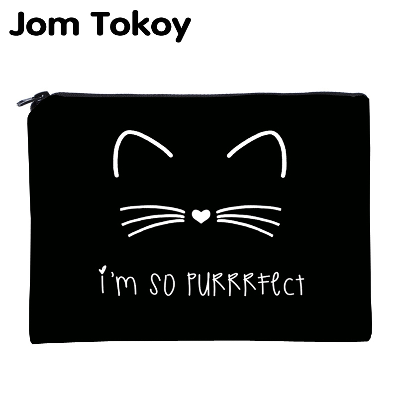 Jom Tokoy 3D Printing Cute Cat Necessaries For Travelling Organizer Makeup Women Letter Cosmetic Bags With Zipper