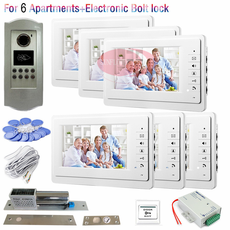 7inch RFID Outdoor CCD Camera Video Door Phone Intercom For 6 Apartments+Electronic Bolt Lock and Access Control Power Supply! 12 apartments placa de video door phone intercom rfid door access control system with 7 inch lcd display