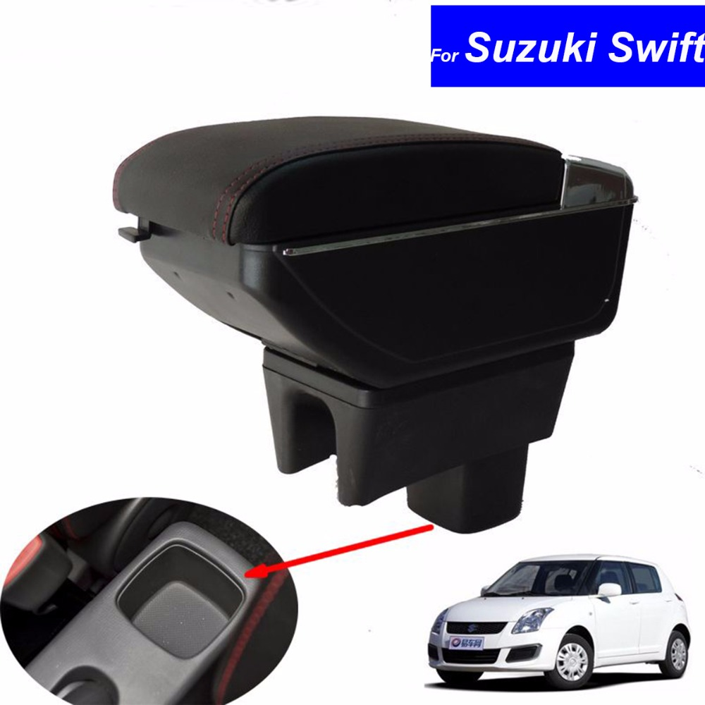 Car Armrest Leather Console Storage Box decoration for Suzuki Swift 2005-2014 Car armrest console box with USB Free Shipping universal leather car armrest central store content storage box with cup holder center console armrests free shipping