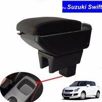 Car Armrest Leather Console Storage Box decoration for Suzuki Swift 2005 2014 Car armrest console box with USB Free Shipping
