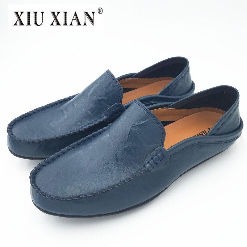 все цены на  100% Genuine Leather Plus Size Men Loafers Flats Heel Slip on Comfortable Driving Shoes 2017 New Fashion Casual Flats Size 37-46  онлайн
