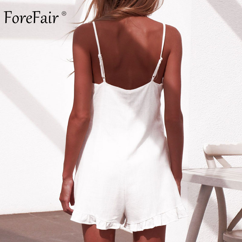 Forefair Sexy jumpsuit Shorts White Ruffles (11)
