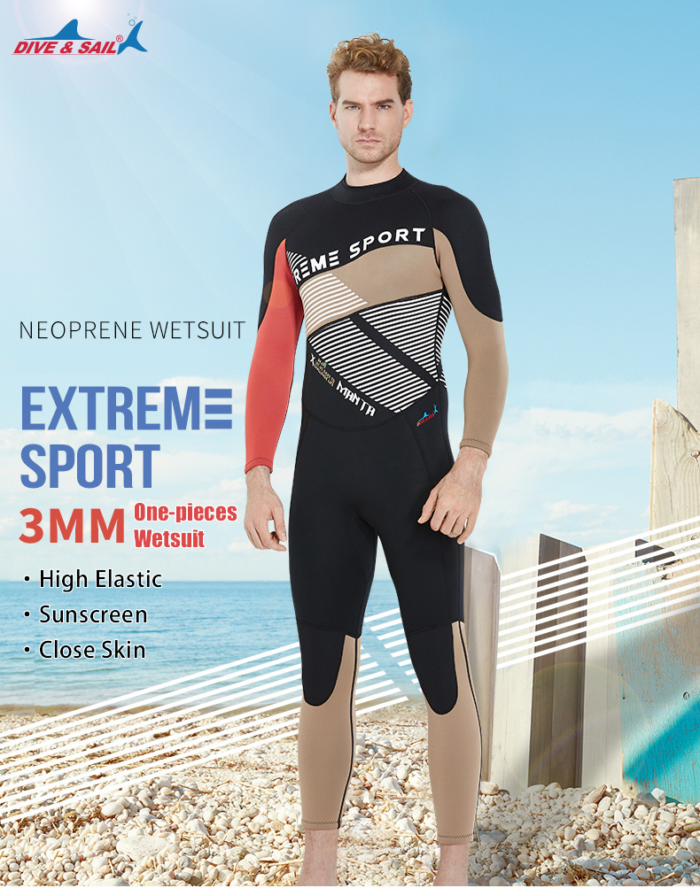 ba4ec39bf0 DIVE&SAIL One-pieces Patchwork Men Scuba Dive Wetsuit 3mm Neoprene Full  Body Warm Dive Suit Swimsuit for Winter Swimming Surf