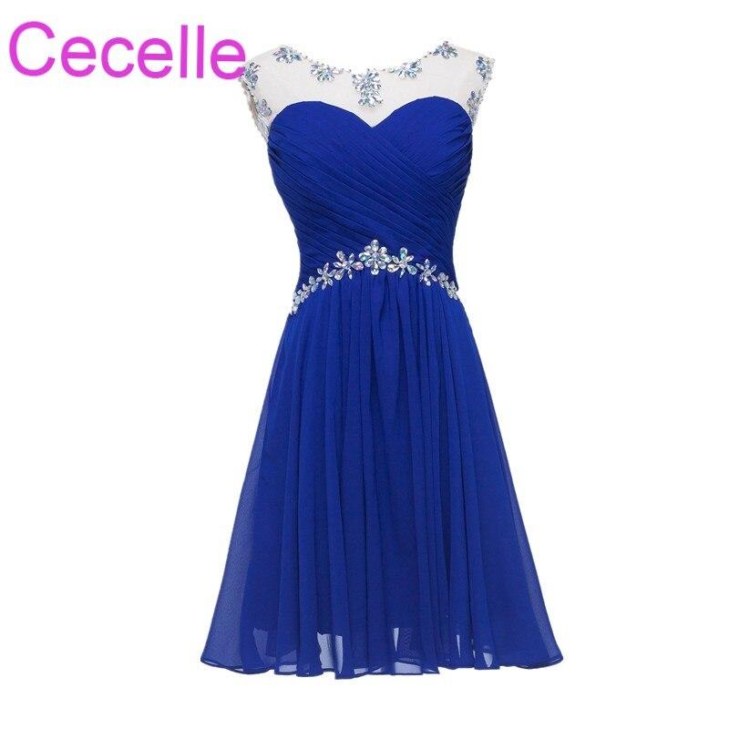 Royal Blue   Cocktail     Dresses   2019 Jewel Beading Juniors Chiffon Open Back Short Prom Party   Dresses   Robe De   Cocktail   For Girls