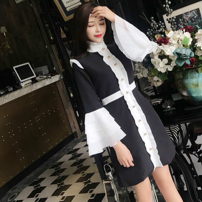 Femminile Moda A 2017 Piccoli Vestito Profumati Balze Temperamento Un Fiori Primavera Maniche Da Colori Lunghe v17nP7W
