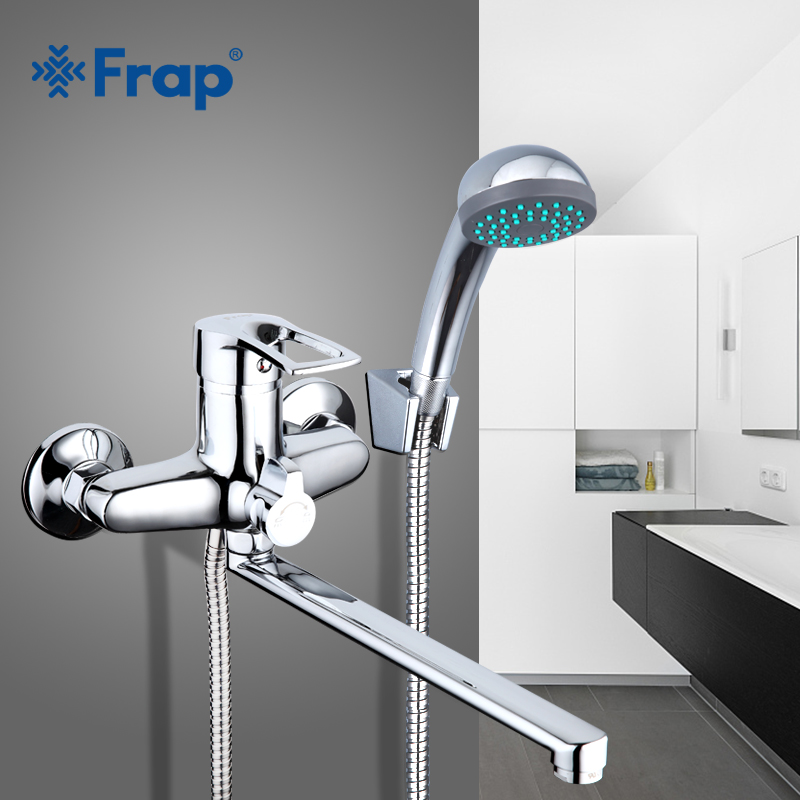 Frap new 1set 30cm silver Outlet pipe Bath shower faucet set Brass body shower head bathroom tap bathtub faucet F22701-B