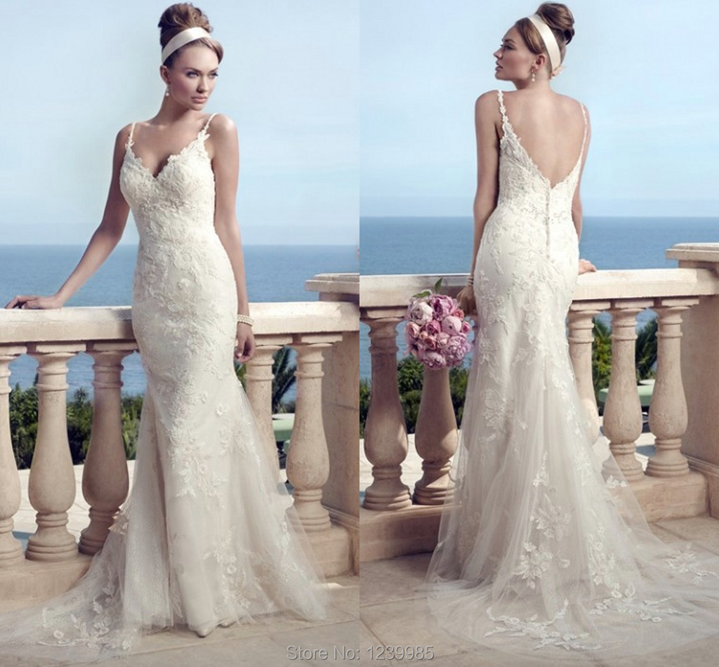 Wonderful casablanca wedding dress 2016 spaghetti sexy v neck wonderful casablanca wedding dress 2016 spaghetti sexy v neck charming lace mermaid beach wedding gown bridal gown free shipping in wedding dresses from junglespirit Images