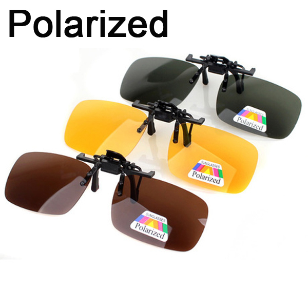 627dc30117 3 PCS Solar Shield Polarized Sunglasses Clip On Flip Up Night Driving  Sunglasses Eyeglasses UV 400