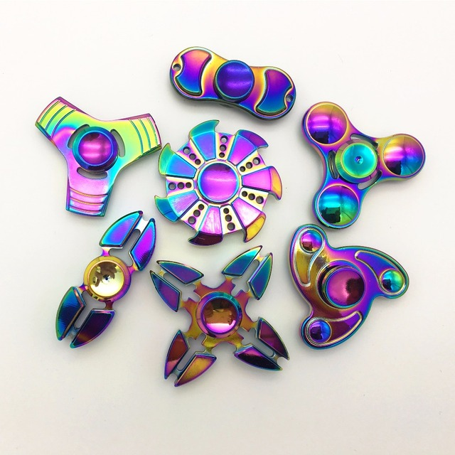 New 9 Style Fidget Spinner Metal Hand Spinner Rainbow Colorful Cool Stress Wheel Cube Toys Figit