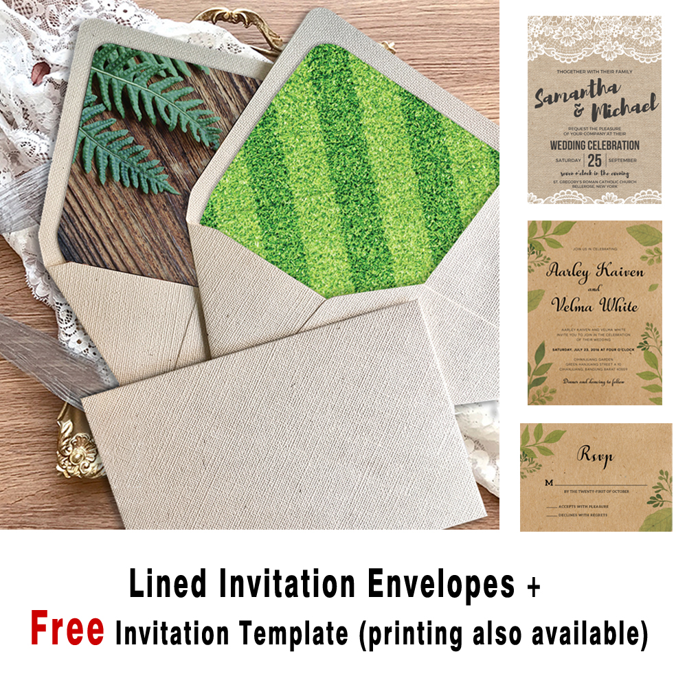 a7 rustic wedding invitations envelopes off white lined envelopes