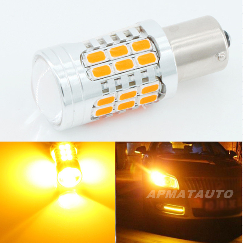 Pair  Canbus  No Error 1156 P21W 7506 BA15S PY21W 7507 BAU15S  No Hyper Flash 21W Amber Yellow  LED Bulbs For Turn Signal Lights ijdm no hyper flash 21w high power amber bau15s 7507 py21w 1156py led bulbs for car front or rear turn signal lights canbus 12v