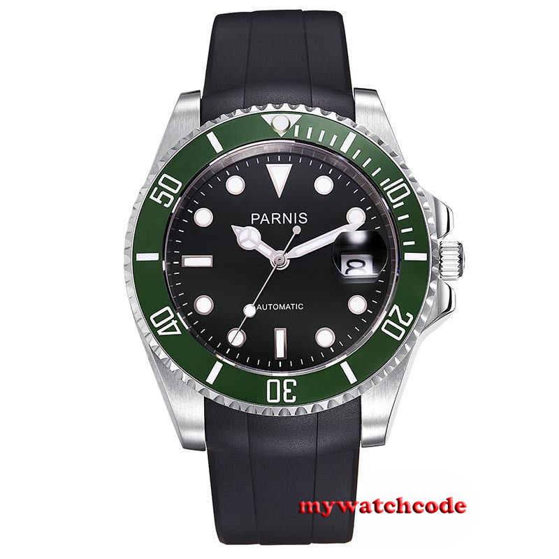40mm Parnis black dial ceramic bezel sapphire miyota Automatic Mens Watch P627 tlp627 1 dip 4 p627