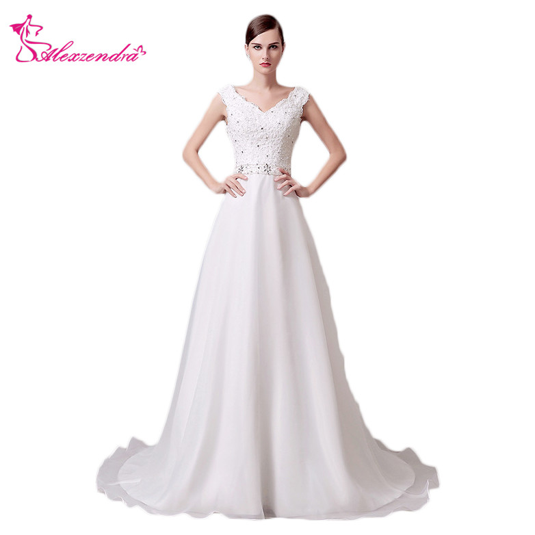 Alexzendra V Neck Elegant Wedding Dress Vestido De Noiva Applique Beads Vintage Bridal Dresses Customize Plus Size