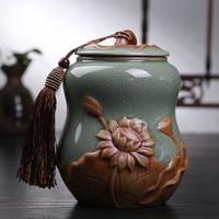 Middle Hot Sale Top Grade Crackle Glaze Longquan Celadon Ceramics Capacity Eco Friendly Tea Caddy Tea