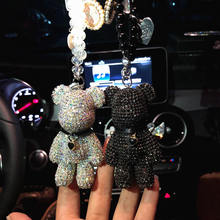 Car rearview mirror pendant crystal violence bear car accessories mounted hanging female drills