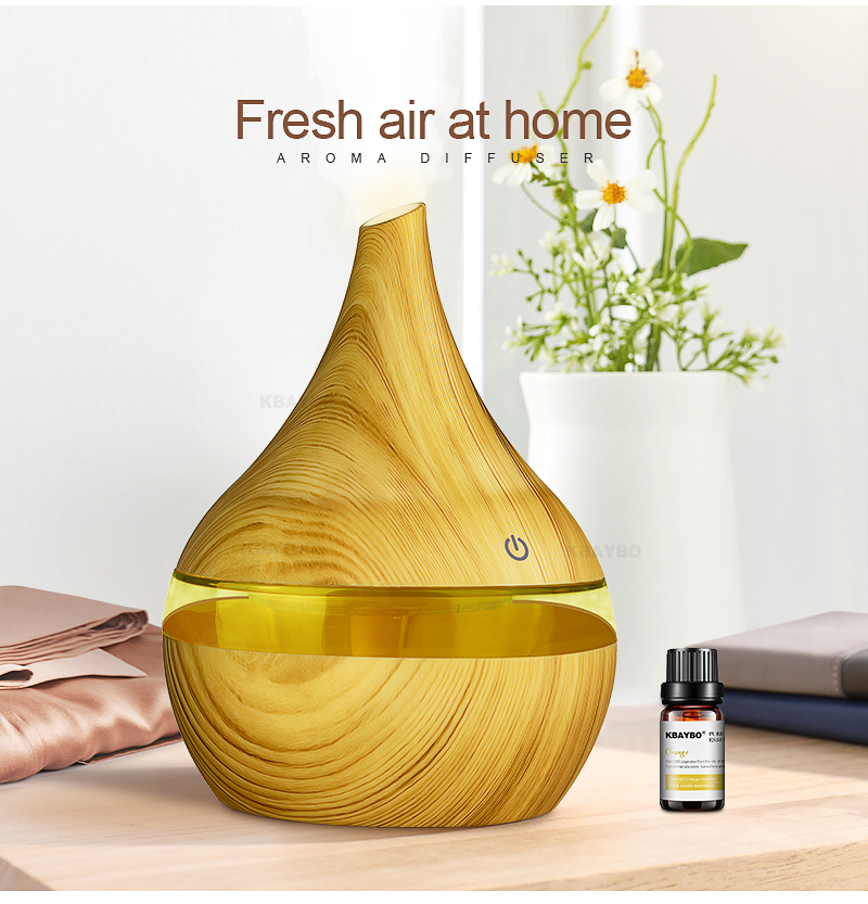 Kbaybo 300ml usb electric aroma air diffuser wood grain ultrasonic air humidifier cool mist maker with 7 colors lights for home