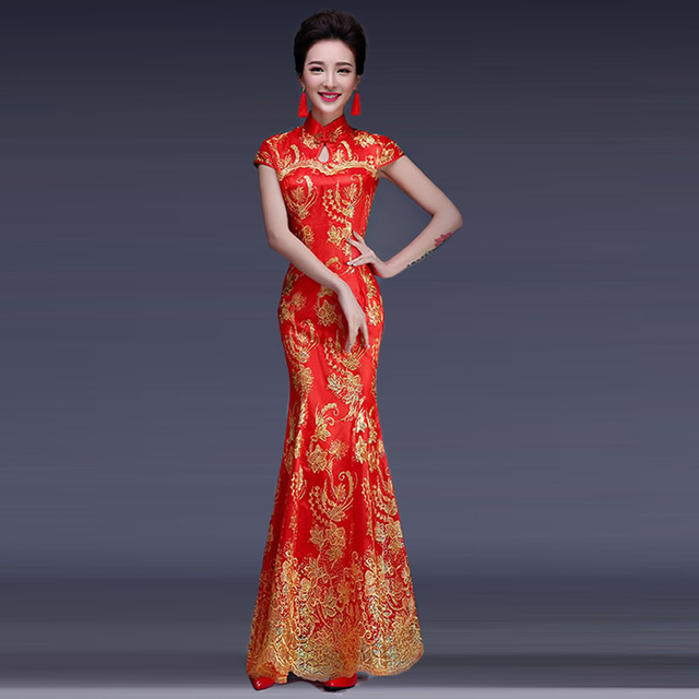 a58fea095 2016 Fashion Red Lace Bride Wedding Qipao Long Cheongsam Dress Chinese  Traditional Dress Qi Pao Women
