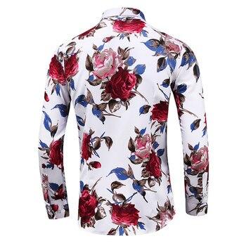 Fashion Floral Men's shirts Plus size M~5XL 6XL 7XL flower printed Casual camisas masculina black white red blue male shirt 1