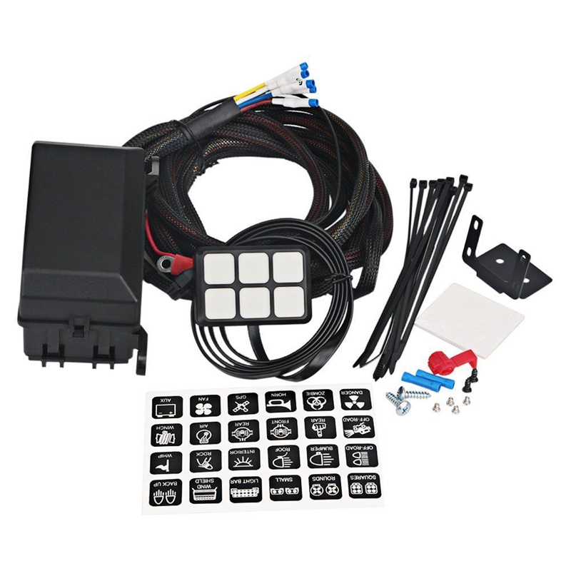 auto 12v led 6 gang switch panel relay control box wiring harness
