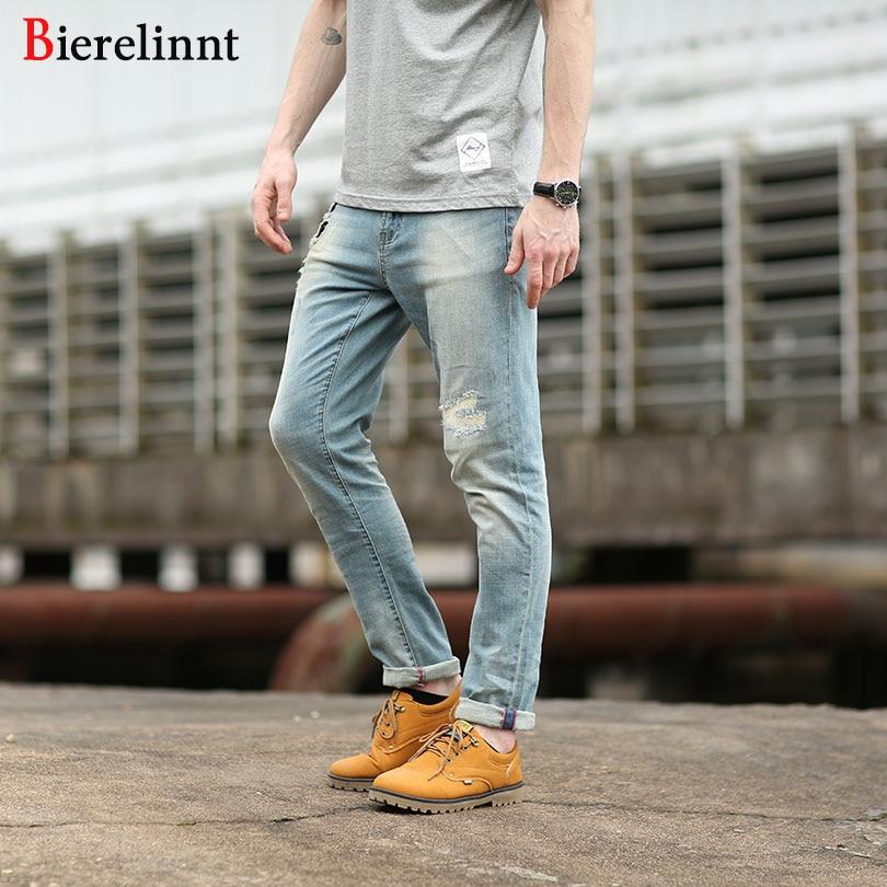 Bierelinnt Ripped Hole Straight Slim Fit Jeans Men,2017 New Autumn Elastic Fashion Cotton Denim Good Quality Men Jeans,240261