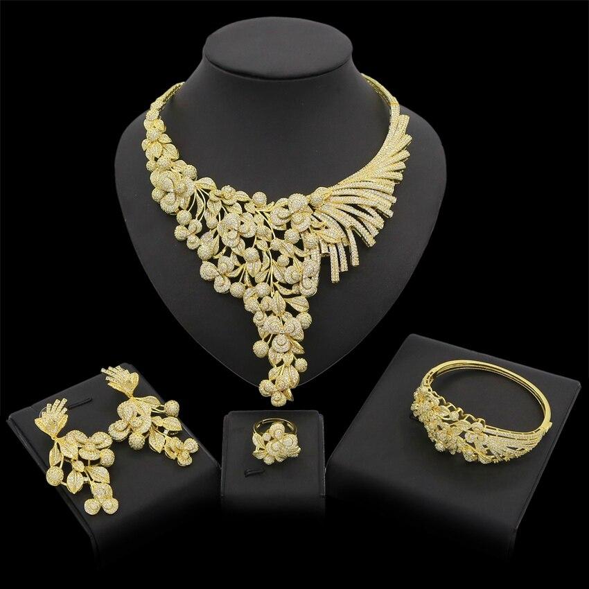 Yulaili 2019 zircon cubique nuptiale nigérian mariage ensembles de bijoux pour les femmes fleurs collier Bracelet boucles d'oreilles anneau bijoux