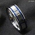 8 Мм Tungsten Carbide ring мужская Двойной Голубой Полосой Обручальное Кольцо Comfort Fit Бесплатная Доставка
