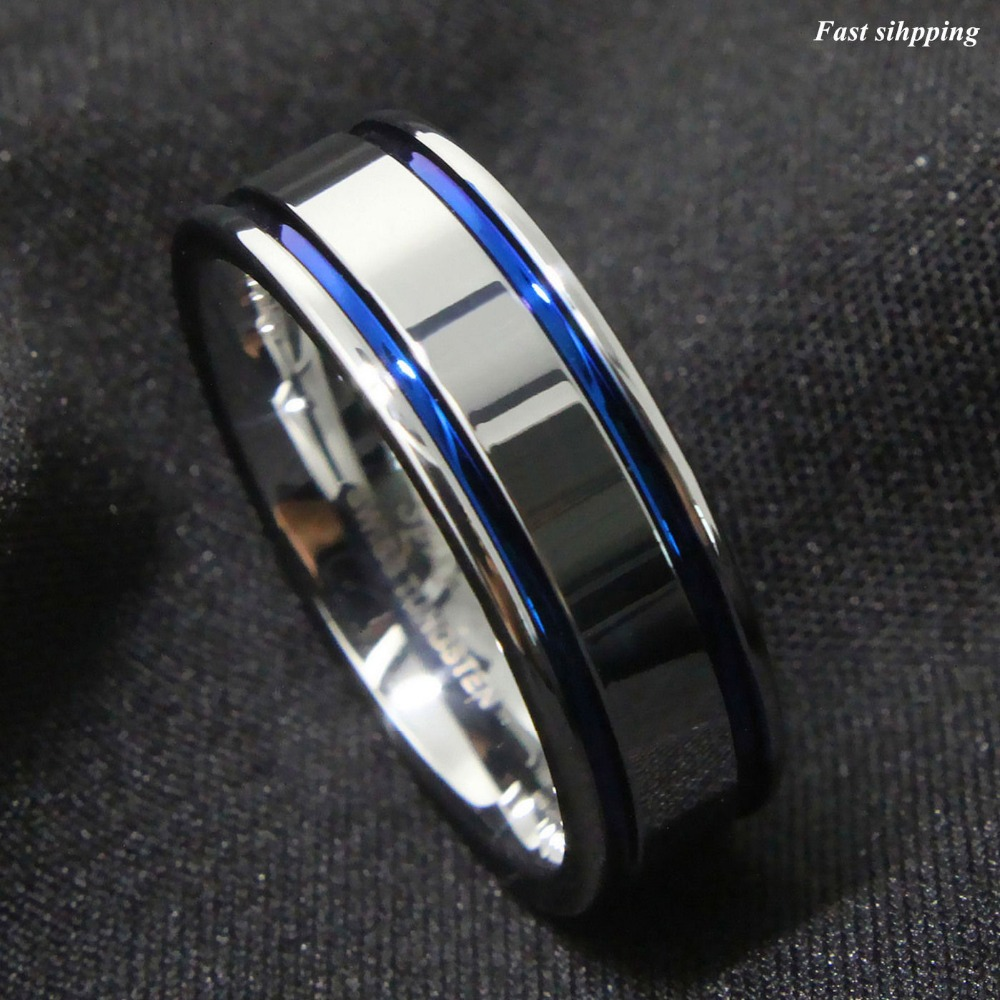 8Mm Tungsten Carbide Ring Mens Double Blue Stripe Wedding