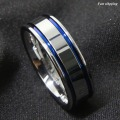 8Mm Tungsten Carbide ring Men's Double Blue Stripe Wedding Band Ring Comfort Fit Free Shipping