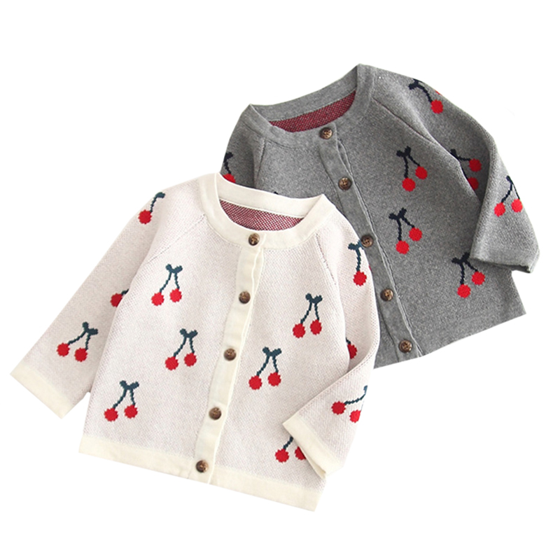 2019 Baby Girl Clothes Autumn Boys Cardigan Knitted Infant Toddler Cardigan Baby Cotton Coats Cute Cherry Newborn Baby Outerwear(China)