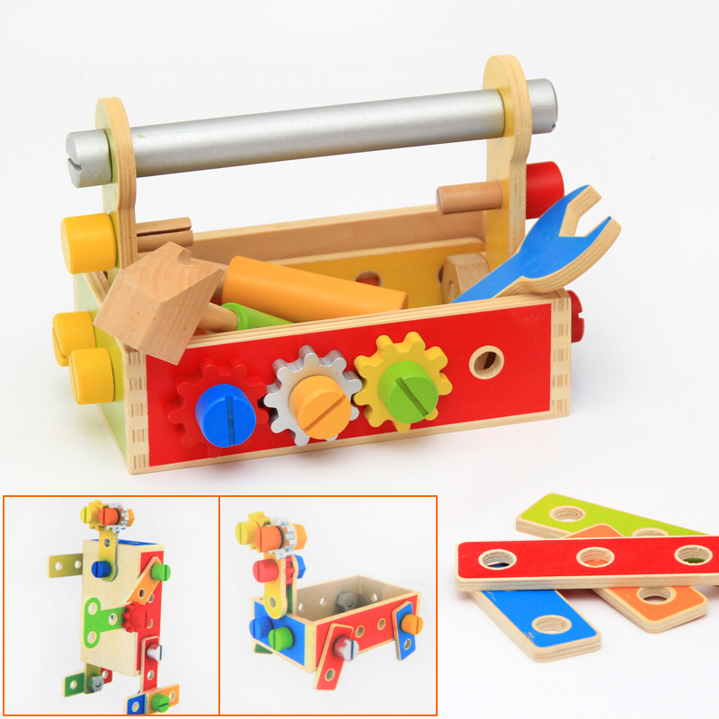 Baby Wood Pretend Play Toy Multifunctional Tool Set Maintenance Box Wooden Removable Tools Toy Kids Screws Nuts Combination Tool ...