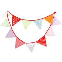 1pcs 3.3M 12 Flags Colorful Party Fabric Cloth Flag Children Birthday Decoration Flag Photo Shooting Banner Wedding Deco Pennant