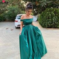 TaoHill торжественное платье для женщин Элегантный Павлин синий простой сатин с открытыми плечами платья халат Soiree Дубай