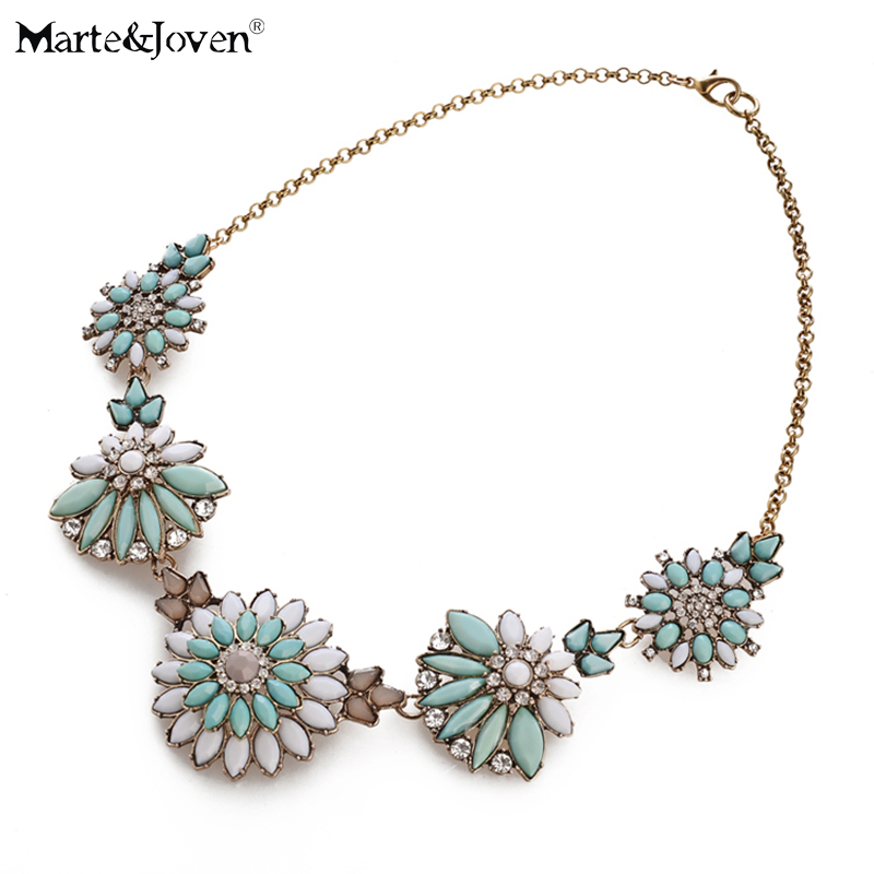 Marte&Joven Vintage Style Multicolor Resin Plant Statement Necklace for Women Antique Gold Chains Necklaces as Gift