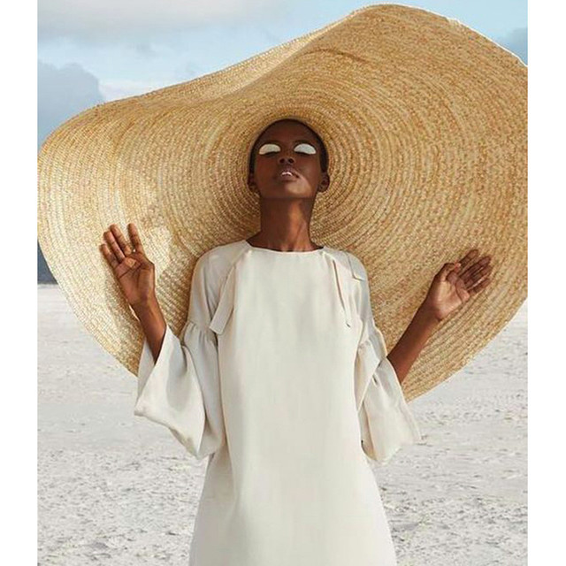 Woman Fashion Large Sun Hat Beach Anti-UV Sun Protection Foldable Straw Cap Cover Oversized collapsible sunshade beach straw hat