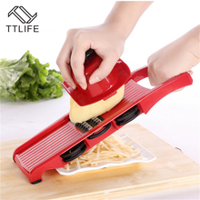 TTLIFE Multifunctional Mandoline Vegetable Slicer Dicer Fruit Cutter with 6 Interchangeable Stainless Steel Blades Salad Maker