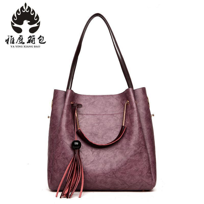 High Quality Leather Women Bag Bucket Shoulder Bags Solid Big Handbag Large Capacity Top-handle Bags Herald Fashion New Arrivals high quality leather women bag bucket shoulder bags solid big women handbag set large capacity tote bolsas feminina famous brand