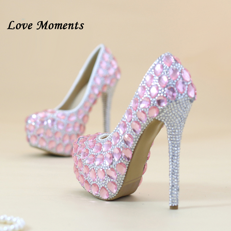 Big size pink glass slipper shoes diamond marriage bridesmaid bridal wedding shoes dress shoes shoes high heel party girl