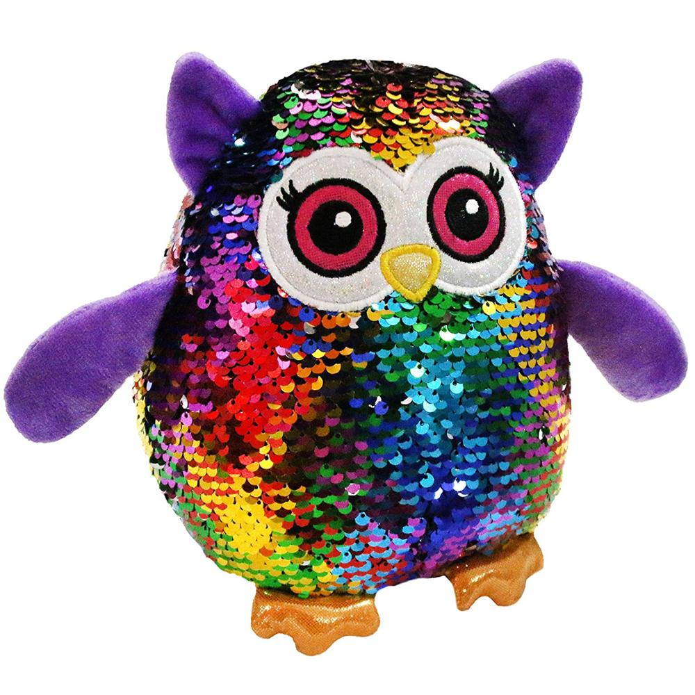 Free Dropshipping Flip Sequin Owl Stuffed Animal Sparkle Soft Plush Toys with Magic Glitter Reversible Sequins Creative Birthday