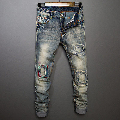 2017 Punk Style Pants Men s Slim Skinny Runway Straight Denim Pants Destroyed Ripped Jeans