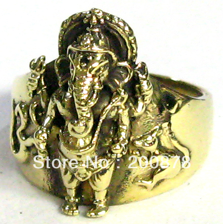 R128 Indian Brass Antiqued Golden Ganesh Man Amulet Rings India