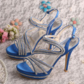 Wedopus Double Platform Ladies Blue Evening Wedding Sandals for Women Crystal Shoes Party