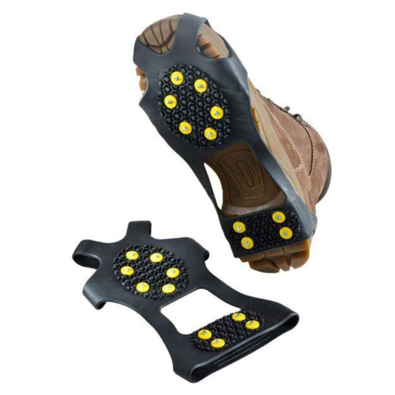 1 Pair Hot Sale 10 Studs Anti-Skid Snow Ice Climbing Hiking Shoe Spikes Grips Crampons Cleats Overshoes Slip-on Stretch Footwear
