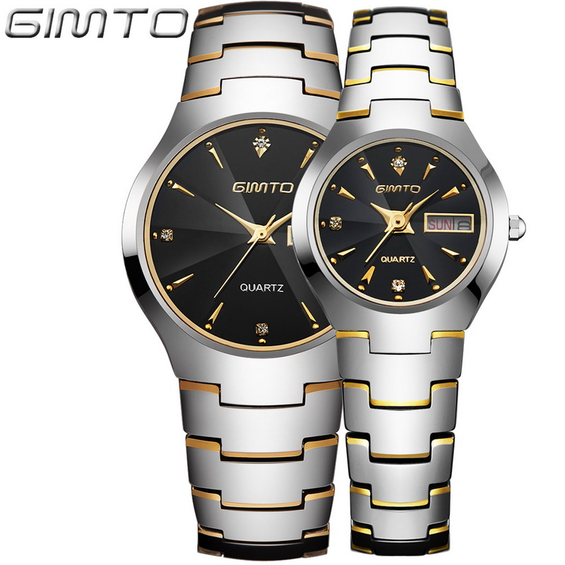 2016 GIMTO Fashion Tungsten Steel Watch Men Women Quartz Wristwatch Waterproof Lovers' Watch Clock Reloj Hombre Relogio Montre от Aliexpress INT