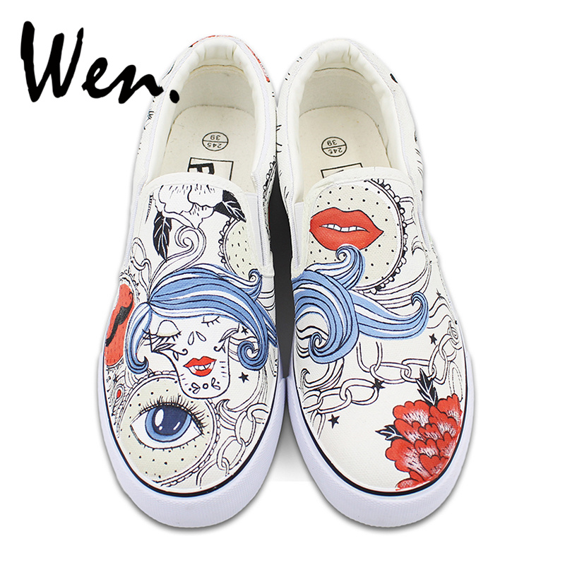 Men Women Slip on Flats Shoes Hand Painted Canvas Sneakers Abstract Style Women Hair Flower Chain Design Gifts vintage embroidery women flats chinese floral canvas embroidered shoes national old beijing cloth single dance soft flats