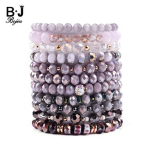 BOJIU Trendy Faceted Crystal Strand Bracelet For Women Cute Pink Purple Gray Black Crystal Bead Bracelet Hot Lady Jewelry BC276
