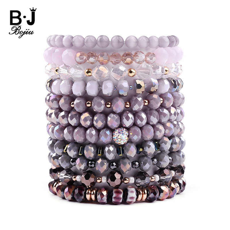 BOJIU Trendy Faceted Crystal Strand Bracelet For Women Cute Pink Purple Gray Black Crystal Bead Bracelet Hot Lady Jewelry BC276