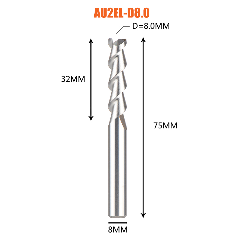 1 pc 3 флейты фрезы вольфрамового сплава концом ЧПУ фреза алюминий фреза для алюминия и деревообрабатывающие - Длина режущей кромки: 1PC-AU2EL-D8.0