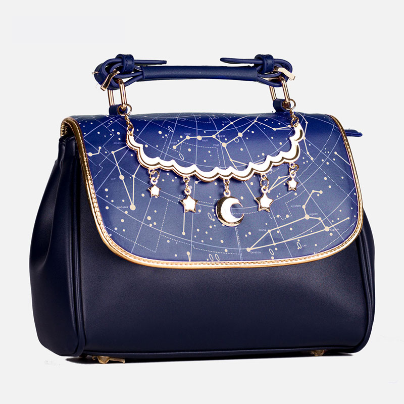 Constellation Printed Lolita Handbag Cute Satchel Bag with Moon & Star Pendant handbag