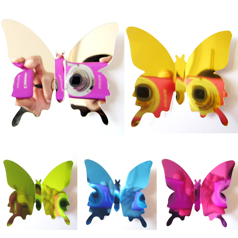 12 Pcs/Lot Hot Sales Mirror Sliver 3D Butterfly Wall Stickers Party Wedding Decor For DIY Home Decorations Animals Sticker